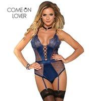 Body Suit 5xl Plus Size One Piece Bodysuit Trim Lace Mulheres Curto Romper e Jumpsuits Black Blue Red Strap Sexy Teddy Re80651 210329