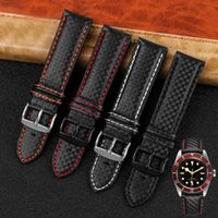 Carbon fiber watchband 18mm 20mm 21mm 22mm 23mm 24mm black with white red blue orange line For men and women watch accessories