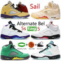 2021 Blanc X Voile 5 5S Chaussures de basketball Ce que l'alternative Bel Oregon Noir Mousseline Fire Argent Rouge Silver Langue Hommes Sneakers en cours d'exécution