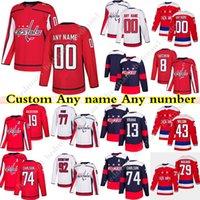 Özel Washington Capitals Hokey Formaları 8 Alexander Ovechkin 74 John Carlson 77 T. J. Oshie 43 Tom Wilson Herhangi bir numara ve isim
