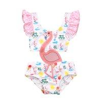 Säuglingsbaby Mädchen Süße Flamingo Patch Einteiliger Badeanzug Mode Hohl Rüschen Hosenträger Bademode Badeanzug 0-3Y Ein-Stück