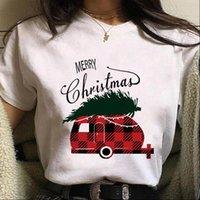Girls Fashion Short Sleeve Womens T Shirts Merry Christmas Santa And Elk Graphic Print shirt Women Harajuku Aesthetic Tee