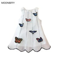 Girl's Dresses 2021 Girls Summer Dress Children Cothing Organza A-line Baby Girl Paste Cloth Stereoscopic Butterfly Vest