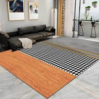 Carpets Nordic Simple Geometry Stitching Houndstooth Carpet 3D Floor Area Rug Luxury Fashion Modern Black Gold For Living Room Bedroom