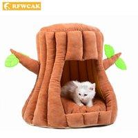 Кровать кошек Мебель Rfwcak Trenest Deep Sleeping Bag Дома Малый Pet Dog Bed Mat Питомник Kitty Теплый полукрытый Домашнее дерево Пещера