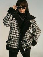 Chaquetas de mujer de lana de cordero engrosamiento y terciopelo coreano abrigo suelto femenino breve houndstooth estilo salvaje