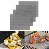 4pcs 바베큐 그릴 메쉬 매트 바베큐 야외 베이킹 패드 요리 오븐 그릴 시트 라이너 도구 액세서리