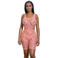 여름 여성 핑크 패션 섹시한 투명한 레이스 jumpsuit 민소매 중공 밖으로 메쉬 조끼 + 반바지 전신 몸통 여성의 tracksuits