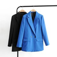Women's Suits & Blazers Autumn And Winter Blazer Jacket Casual Solid Color Double-breasted Pocket Decorative Coat