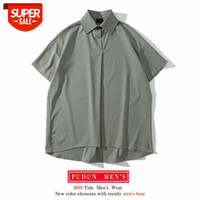 Loose short-sleeved shirt for men and women with chiffon design, retro Hong Kong flavor French blouse, couple #KC02
