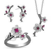 Earrings & Necklace Vintage Female White Crystal Jewelry Set Charm Silver Color Wedding Stud For Women Cute Plum Flower Chain Ring
