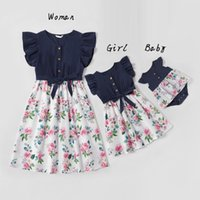 Casual Dresses Irregular Mother Daughter Macthing Family Set Flower Mom Mum Baby Mommy And Me Clothes Fashion Women Girls Cotton Dress