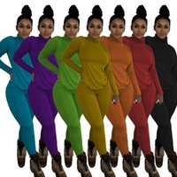 Women's Two Piece Pants Winter Clothes Women Fashion Turtleneck Tops Casual Tight Solid Color Street Wear Sexy Sets Wholesale