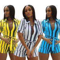 Women striped print Jumpsuit&Rompers summer sexy lapel zipper bodysuit bandage pocket short sleeve slim mini jumpsuit plus size 823