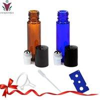 10 мл толстых янтарных / синих стекловолокна на бутылках роликовые бутылки для эфирных масел парфюмерные ароматерапии сталь металлический металл