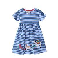 Girl's Dresses Summer Children Girls Beading Stripe Princess Tunic Fashion Design Cotton Party