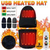 Açık Şapka Isıtma Erkekler kadın Yürüyüş Kap Eşarp Elektrikli Kış Kamp Örme Şapka Kalınlaşmak Boyun Isıtıcı USB 3GEARS Ayarlanabilir 2PC / Set