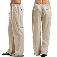 Брюки летние мужчины сплошной цвет белья многокарманский прямой повседневный плюс большой размер дышащих удобных рычагов свободных брюк