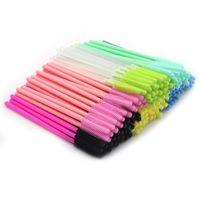 500pcs / lot Pennelli per ciglia in silicone in silicone Mix Colori monouso Mascara Bacchette per ciglia Trucco per l'estensione ciglia