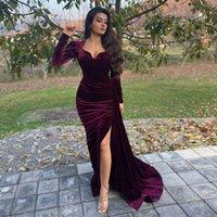Elegant Burgundy Mermaid Velvet Evening Dresses Sweetheart Long Sleeves Prom Gowns High Side Split Sweep Train Formal Dress Custom Made