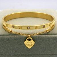 Design luxus marke armband frauen hängende herz label für immer liebe pulseira titanium stahl armreif armbänder für frauen schmuck