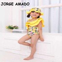 الصيف الطفل بنات ملابس جميلة أصفر المايوه الزهور + قبعة الأطفال الأزياء ملابس السباحة E06 210610