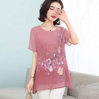 Women Spring Summer Style Chiffon Blouses Shirts Lady Casual Short Sleeve O-Neck Flower Printed Blusas Tops DD8854 Women's &