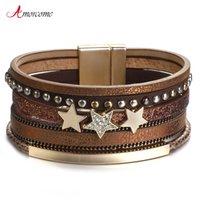 Amorcome Metal Rhinestone Star Charm Bracelets for Women Fashion Multilayer Punk Rivet Leather Wrap Bangle Bar Female Jewelry Couple Gifts
