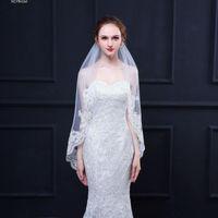 Gelin Veils 2021 Varış Tarak Ile Brida FingerTip Nefis Sequins Düğün Aksesuarları Bir Katmanlı Dantel Aplike İşlemeli