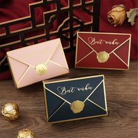 Gift Wrap 50Pcs Lovely Box Bags Creative Bronzing Packaging Envelope Shape Wedding Candy Party Favors
