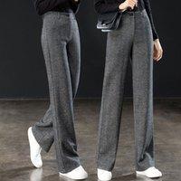 HERRINGBONE Muster Wollweiten Beinhose für Frau Frühling Herbst Hohe Taille Gerade Hosen Hosen Damen Slim Anzug Hosen 210522