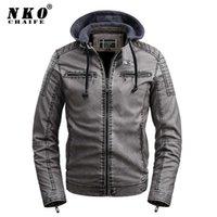 Chaifenko бренд мужская кожаная куртка мода повседневная мотоцикл ретро пальто мужчины зимний флис с капюшоном велосипед искусственная кожаная куртка мужчины х0721