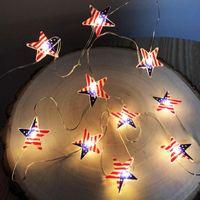 Cuerdas 1/2M Bandera estadounidense LED Luces de cadena Ornamentos colgantes Decoración de jardín Net impermeable al aire libre Día de la independencia