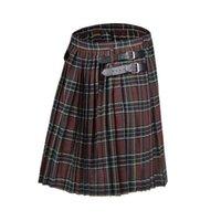 2020 Scottish Mens Kilt Tradicional Manta Cinto Plissado Cadeia Bilateral Brown Gótico Punk Scottish Tousers X0628