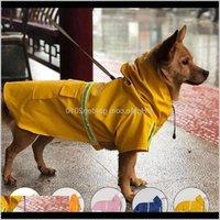 의류 비 코트 옷 애완 동물 큰 강아지 강아지 캐주얼 방수 재킷 의상 큰 개를위한 노란색 플러스 크기 XXL 비옷 201102 3IWS BMMUK
