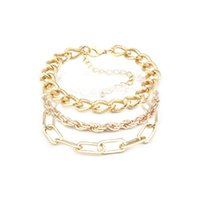 Link, Chain Bohemian Gold Color Thick Link Bracelet For Women Punk Boho Beach Bangle Jewelry Gift