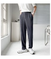 Fabric Suit Pant Men Fashion Loose Casual Stripe Straight Pants Korean Trousers