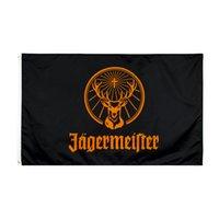 Fabrik Direkter Großhandel doppelt genäht 3x5FTs 90 * 150 cm Black Jagermeister Flagge Leben Flagge für Dekoration GWD5679