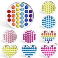 Jumbo Fidget Bubble Poppers Board Toys Giocattoli Rainbow Color Colore Ciclo a forma di cuore Push Bubble Pop Hard Plastica Pc Sensoriale Ansia Stress AHF6641