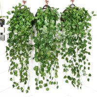 90cm Artificial Green Plants Hanging Ivy Leave Seaweed Grape Radish Fake Flowers Vine Home Garden Wall Party Holiday Decoration