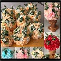 Rosequeen Yapay Çiçek Düğün Çiçek Topu Masa Centerpieces Dekorasyon Yol Kurşun Çiçek Ev Dekorasyon Çiçekler FJSY5 Kvays
