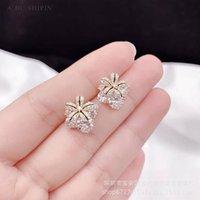 Цветок лилии для женщин Новые японские специальные и корейские универсальные гальванические серьги S925 серебряные серебряные