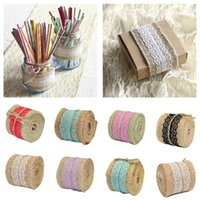 Decorative Flowers & Wreaths 1 Meter 100% Natural Jute Burlap Hessian Ribbon +Lace Trims Tape Rustic Favor Wrapping For Wedding Decorations