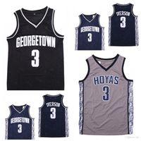 NCAA Jerseys Mens Georgetown Hoyas Iverson College Jersey 3ai University Basketball porte la taille S-2XL Livraison rapide