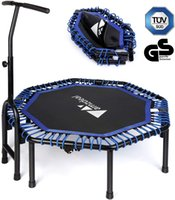 Amzdeal 47inch Foldable Fitness Trampolines Mini Rebound Recreational Exercise with Adjustable Handle Bar Jumping Cardio Trainer for Kids Adults Max Load 330 lbs