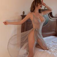 Sexy lingerie Pyjamas ladies lace one-piece see-through mesh temptation skirt suit 3 colors