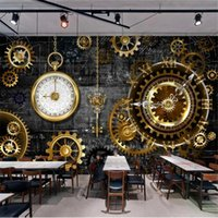 Milofi Custom Large Wallpaper Mural 3D Stereo European And American Industrial Wind Golden Gear Clock Background Wall Wallpapers
