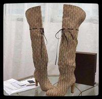 Gucci Damenstiefel Designer Rote Beige Leinwand über den Reißverschluss der Kniestiefel Ziehen Freizeitschuhe Mode High Heel Frauen Luxus Sneakers Große Größe 35-