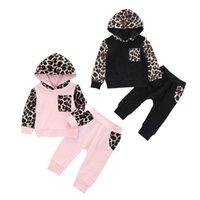 Clothing Sets Born Baby Girls Boys 2pcs Set Long Sleeve Leopard Print Hooded Sweatshirt + Pants 0-24M Outfits