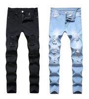 Pantalones de pantalones de talla grande para hombres Hombre blanco Mediados de cintura alta estiramiento Denim rasgado flaco para hombres Jean Pantalón de moda casual 1820